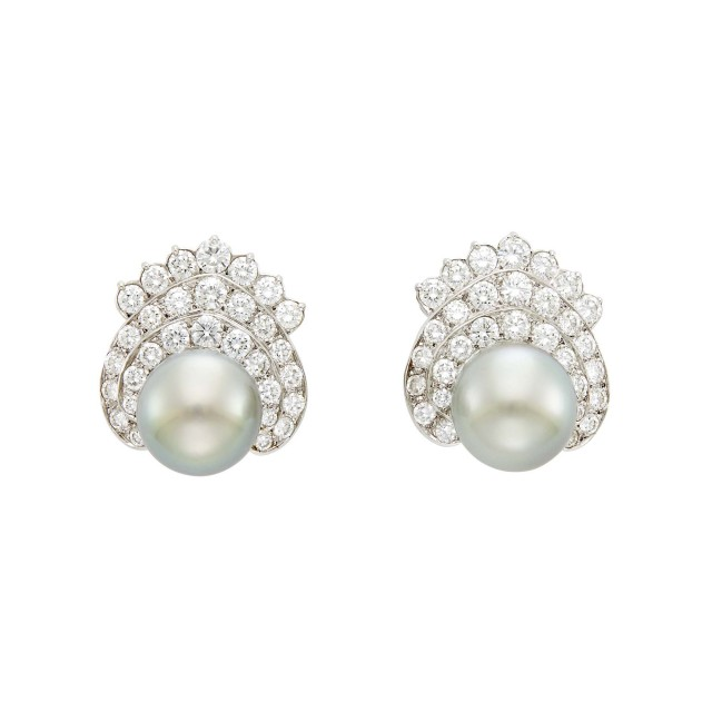 Emis Pair of White Gold, Tahitian Gray Cultured Pearl and Diamond Earclips
