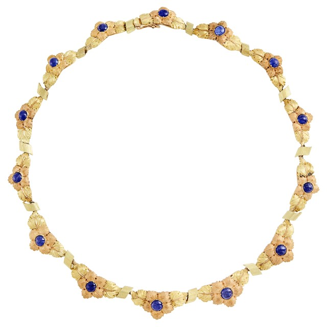 Two-Color Gold and Cabochon Sapphire Flower Necklace, Mario Buccellati