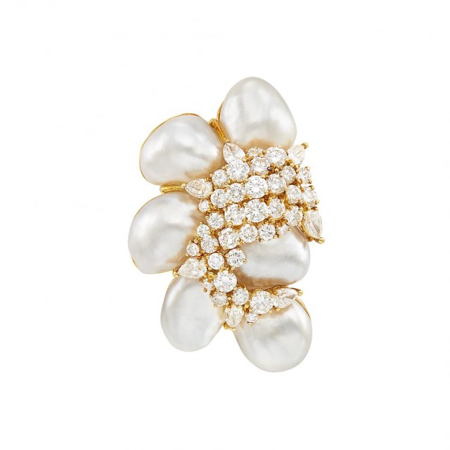 Gold, Baroque South Sea Cultured Pearl and Diamond Clip-Brooch, Henry Dunay