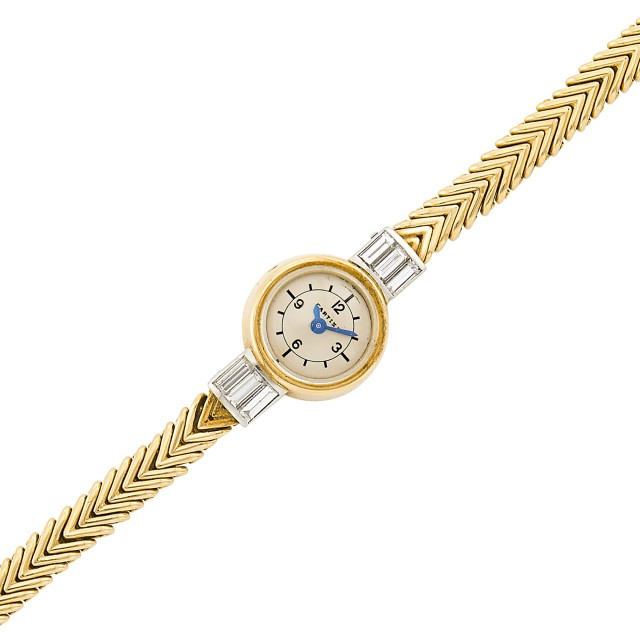 Gold, Platinum and Diamond Herringbone Link Wristwatch, Cartier, France