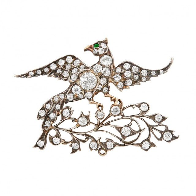 Antique Silver-Topped Gold, Diamond and Emerald Bird Brooch