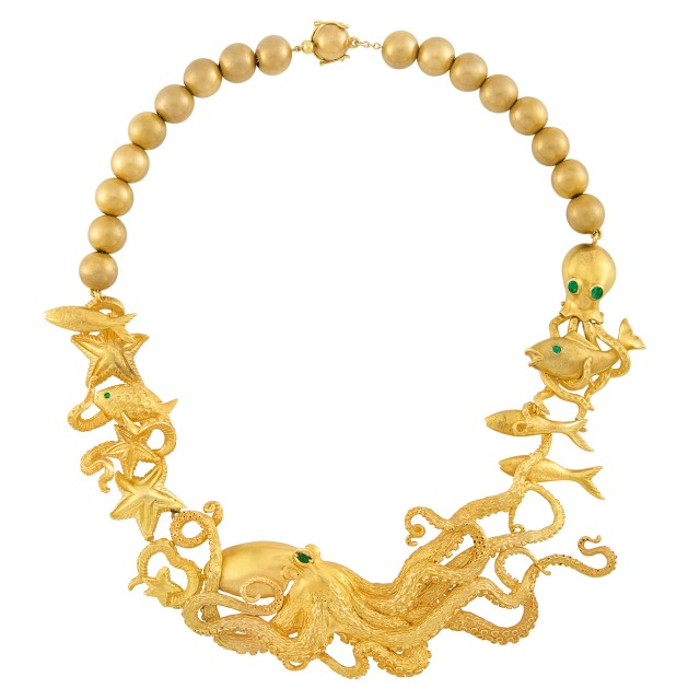 Gold, Gold Bead and Emerald Octopus Necklace