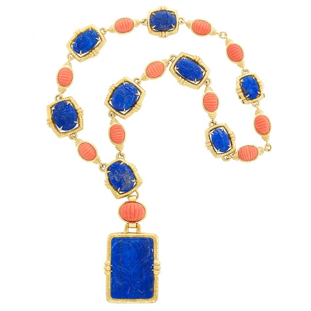 Gold, Carved Lapis and Coral Pendant-Necklace, David Webb