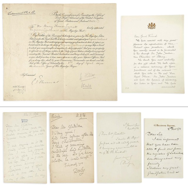 [ENGLISH HISTORICAL PERSONAGES]  Small group of autograph letters and documents.
