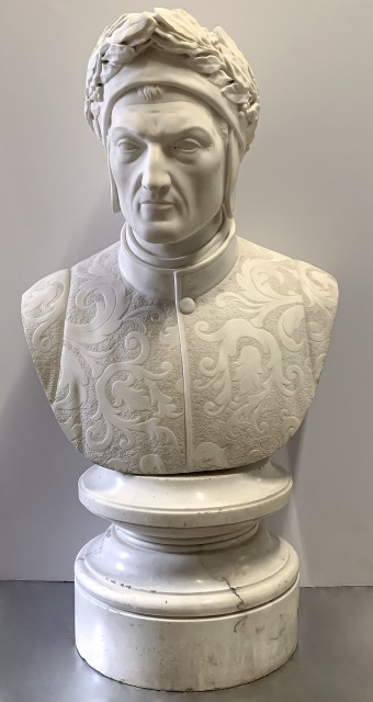 Carved White Marble Bust of Dante