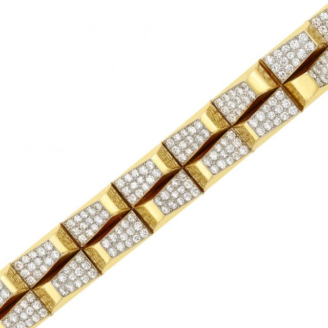 Gold, Platinum and Diamond 'Escalier' Bracelet, Cartier, France