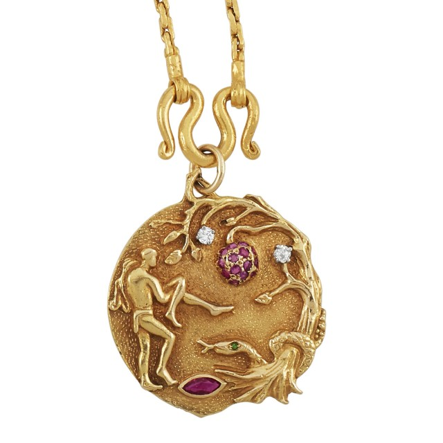 Gold, Ruby and Diamond 'Adam and Eve' Pendant and Long High Karat Gold Chain Necklace