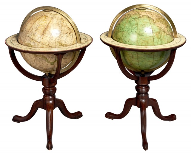 [GLOBES-BARDIN, W. and T.M.]  Rare set of 12 inch Bardin globes on stands.
