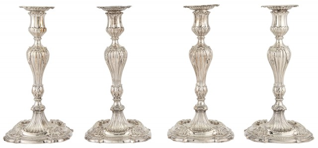 Set of Four George III Sterling Silver Candlesticks