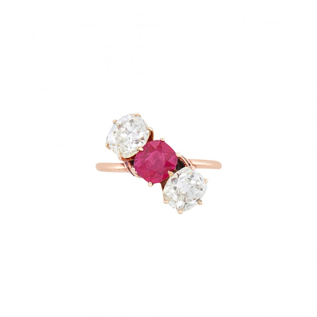 Antique Rose Gold, Ruby and Diamond Ring