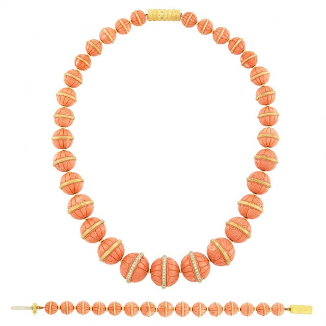 Carved Coral, Gold and Diamond Necklace and Bracelet, Henry Dunay