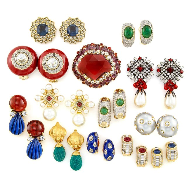 Group of Metal and Rhinestone Earclips and Brooch