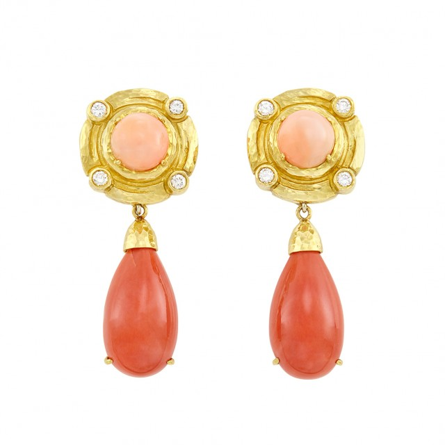 Pair of Hammered Gold, Coral and Diamond Pendant-Earrings