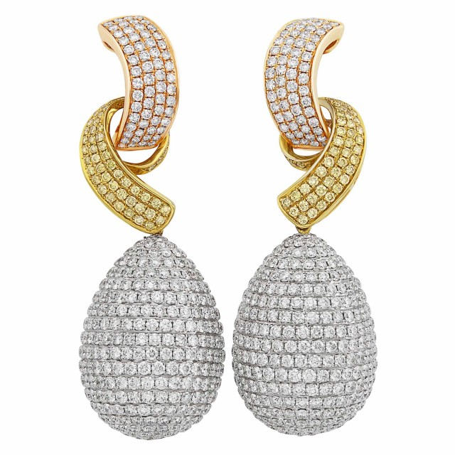 Tricolor Gold, Diamond and Colored Diamond Pendant-Earrings