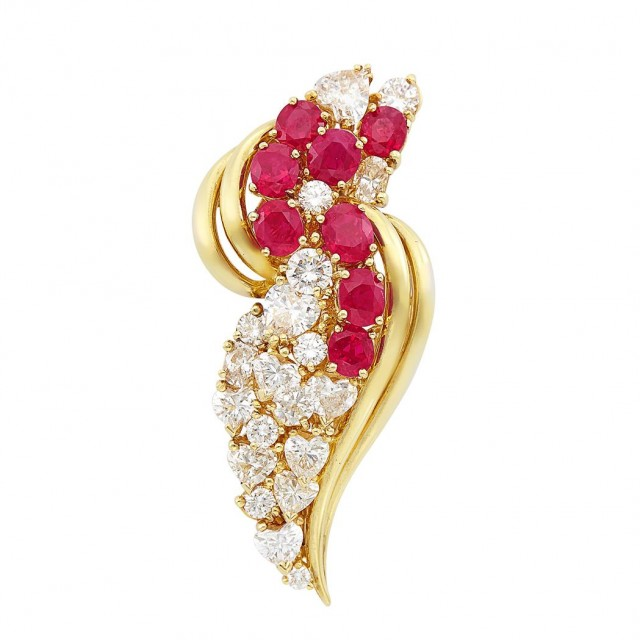 Gold, Ruby and Diamond Brooch, Henry Dunay
