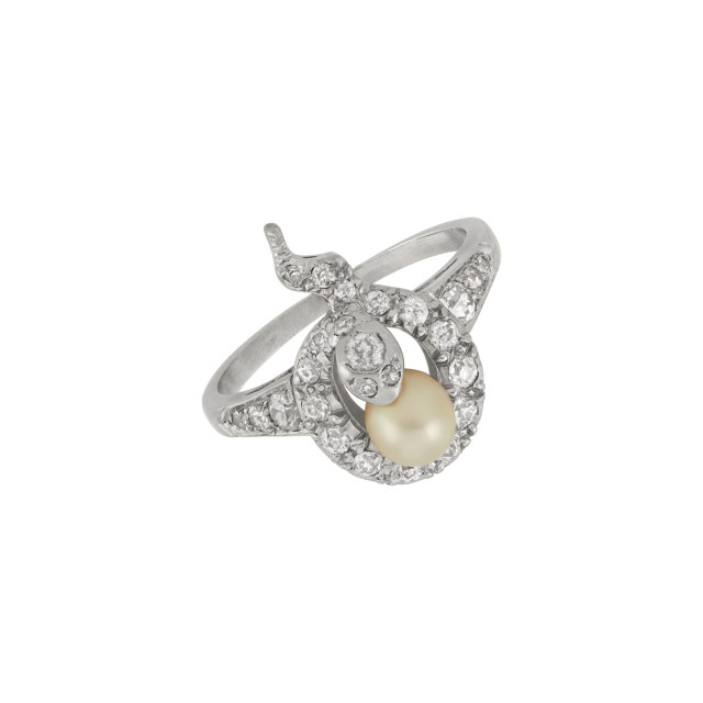 Antique Platinum-Topped Gold, Pearl and Diamond Snake Ring