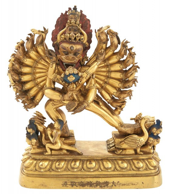 Tibetan Gilt Bronze Figure of Vajrabhairava and Vajra Vetali
