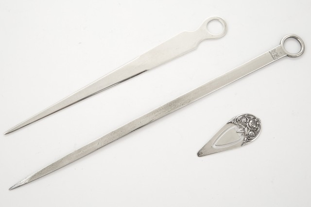 Georgian Sterling Silver Letter Opener; Together with a Tiffany and Co. Sterling Silver Letter Opener and a S. Kirk and Son Sterling Silver Page Holder