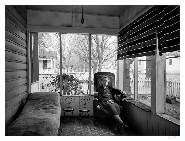 ADAMS, ANSEL (1902-1984)  Mrs. Gunn on Porch, Independence, California, 1944.