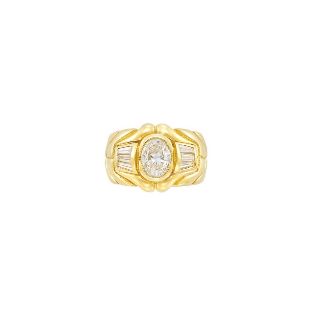 Wide Gold and Diamond Ring