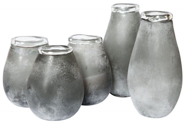 Group Of Five Frosted Glass Vases Doyle Auction House