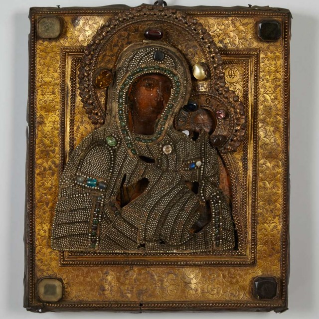Russian Gilt-Metal Mounted Painted Wood Icon of the Mother of God and Christ