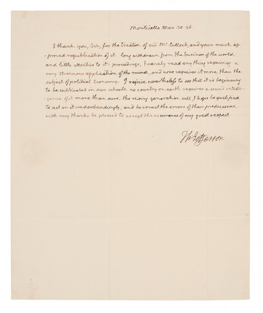 JEFFERSON, THOMAS  Autograph letter signed.