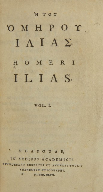 [VELLUM PRINTING]  HOMER. [Title in Greek: He tou Homerou Iliados]. Homeri Ilias.