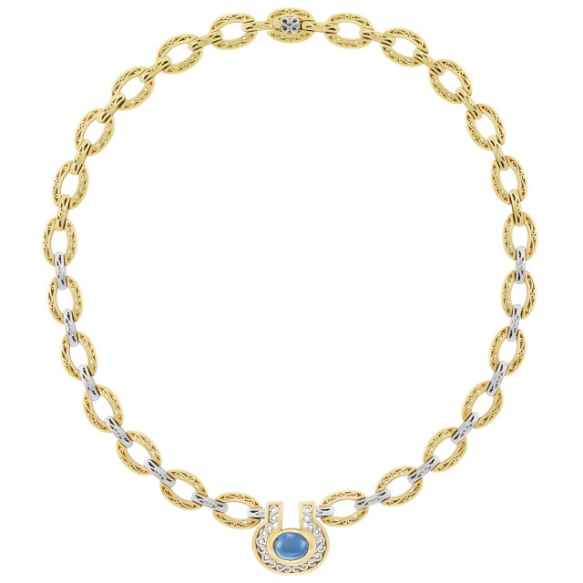 Gold, Platinum and Cabochon Sapphire Necklace, Thomas Cooper