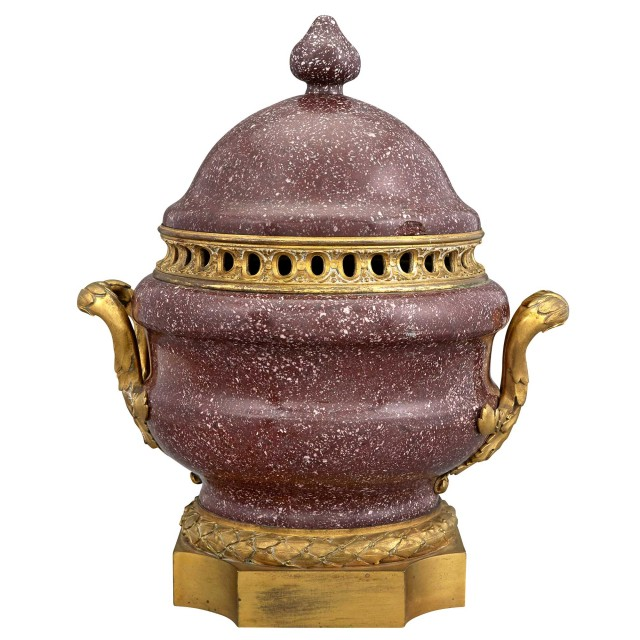 Neoclassical Style Ormolu-Mounted Porphyry Potpourri Covered Urn