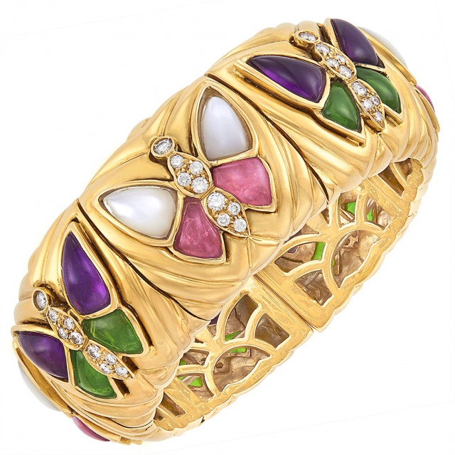 Gold, Cabochon Colored Stone, Mother-of-Pearl and Diamond Butterfly Cuff Bangle Bracelet