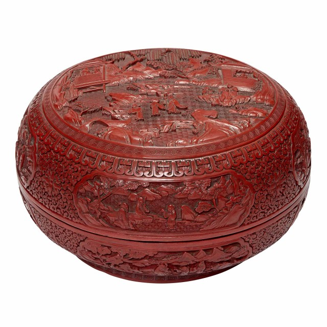 Chinese Cinnabar Lacquer Circular Box and Cover