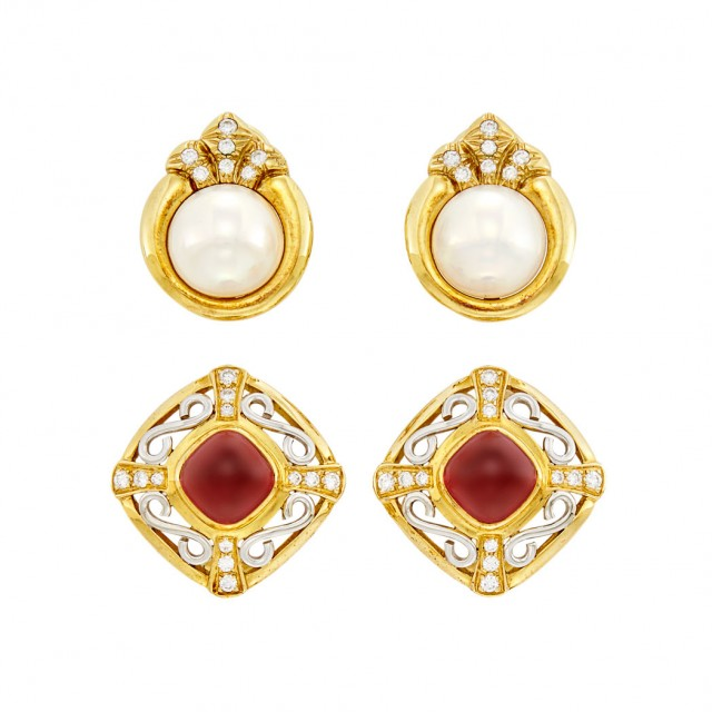 Pair of Gold, Platinum, Cabochon Garnet and Diamond Earclips and Pair of Gold, Mabé Pearl and Diamond Earclips