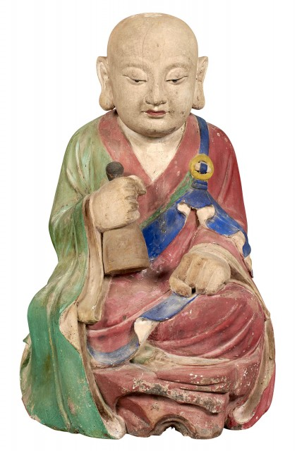 Korean Painted Gesso and Wood Figure of a Monk