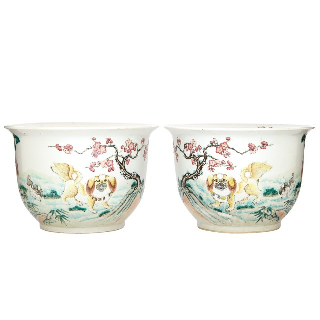 Pair of Qing Style Porcelain Jardinieres