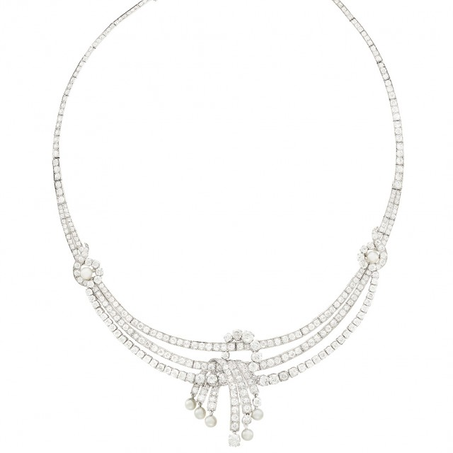 Platinum, Diamond and Cultured Pearl Swag Necklace