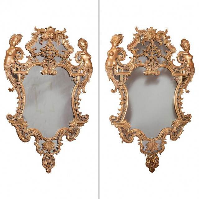 Pair of Régence Style Giltwood Mirrors