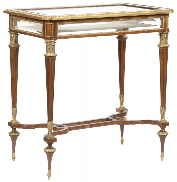 Louis XVI Style Gilt-Bronze Mounted Parquetry Vitrine Table