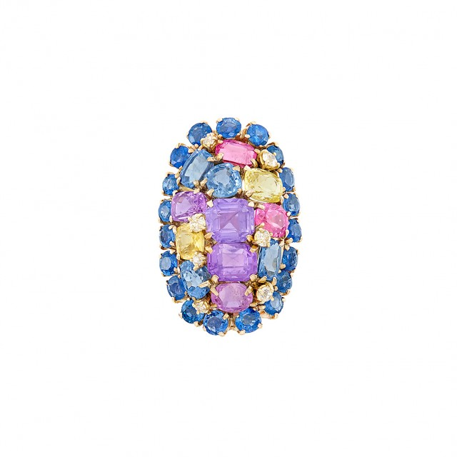 Gold, Multicolored Sapphire and Diamond Ring