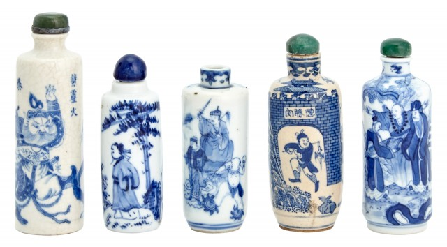 A Group of Five Chinese Blue and White Glazed Porcelain Snuff Bottles