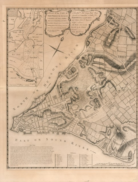 MONTRESOR, JOHN A Plan of the City of New-York and its Environs to Greenwich, on the North or Hudsons River, and to Crown Point,...