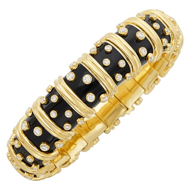 Gold, Black Paillonné Enamel and Diamond Bangle Bracelet, Tiffany and Co., Schlumberger, France