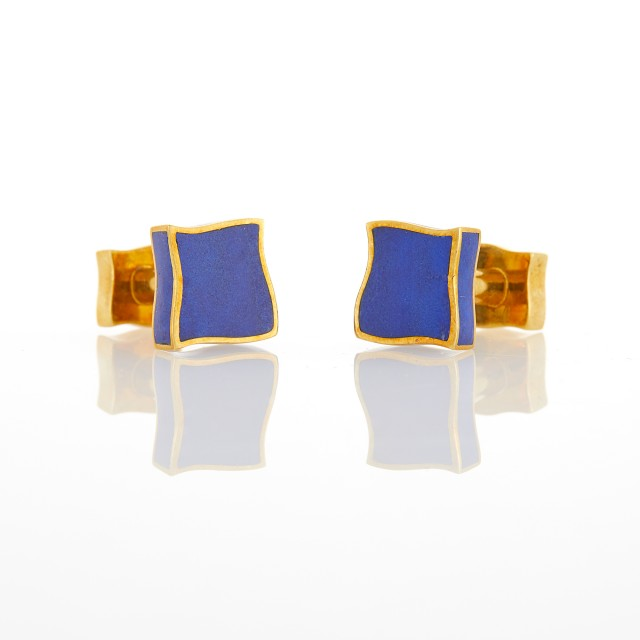 Angela Cummings Pair of Gold and Lapis Cufflinks