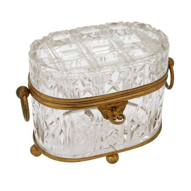 French Style Gilt-Metal Mounted Cut Glass Presentation Oval Footed Box with Ring Handles