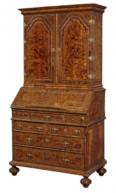 Continental Baroque Burr Maple, Walnut, Kingwood, Gilt-Metal-Mounted and Pewter-Inlaid Bureau Bookcase Cabinet