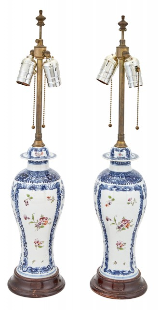Pair of Chinese Export Blue and White and Polychrome-Decorated Porcelain Covered Garniture Vases