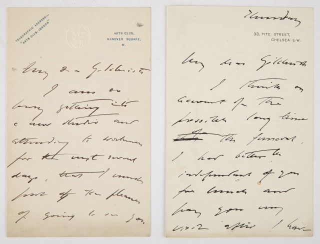 SARGENT, JOHN SINGER  Two autograph letters signed.