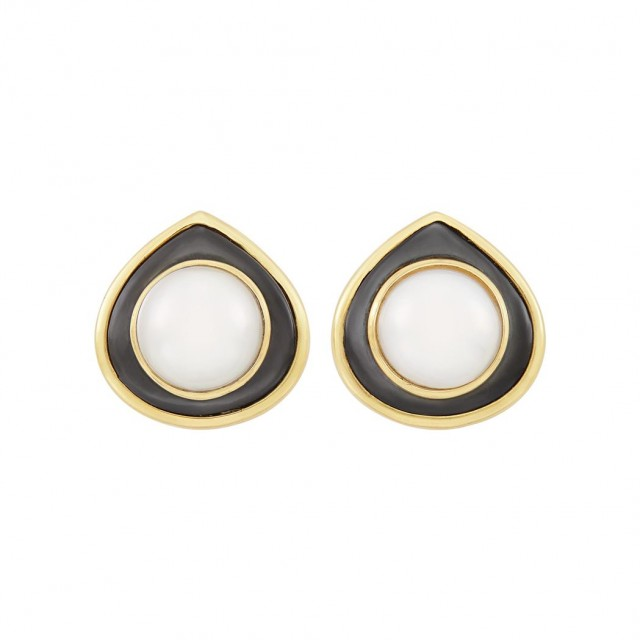 Pair of Gold, Mabé Pearl and Gray Mother-of-Pearl Earclips, Marina B