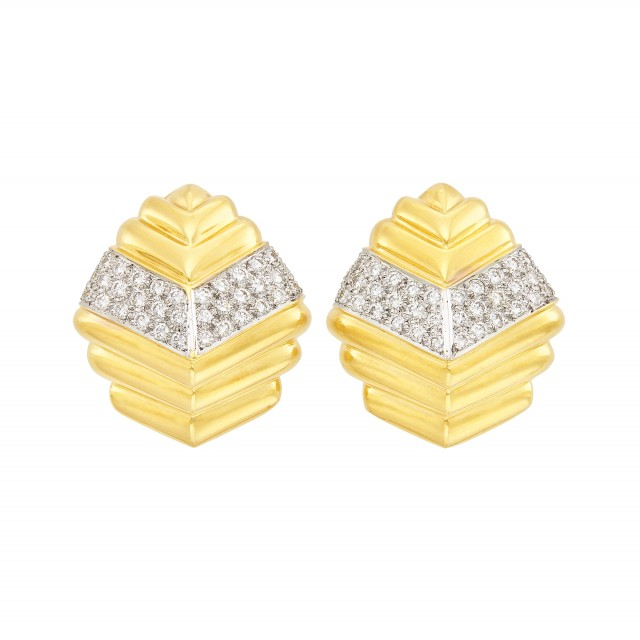 Pair of Two-Color Gold and Diamond Earclips