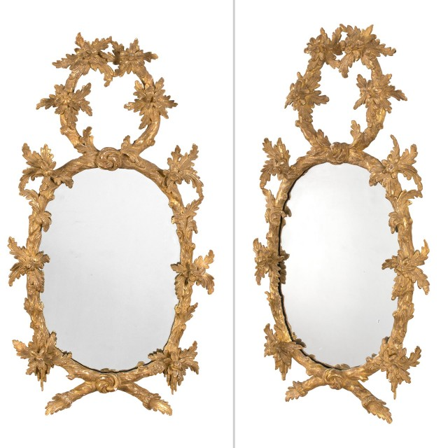 Pair of George III Giltwood Mirrors